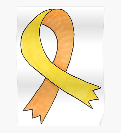 Yellow Awareness Ribbon Poster
