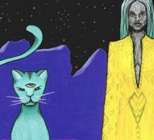 Space cat alien witch girl moon galaxy sorceress  Sticker