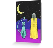 Space cat alien witch girl moon galaxy sorceress  Greeting Card