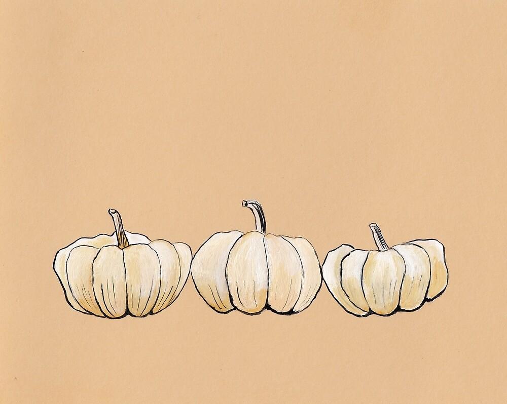 Thanksgiving poster - White pumpkins by Marikohandemade