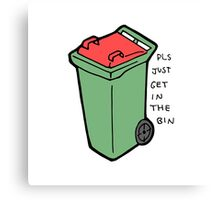 Get in the coloured bin  Canvas Print