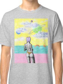 Beach alien bikini babe fantasy sea monster Classic T-Shirt