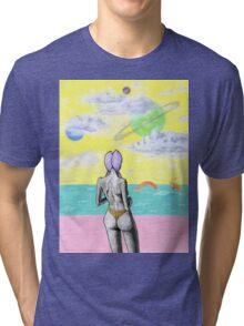 Beach alien bikini babe fantasy sea monster Tri-blend T-Shirt
