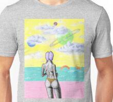 Beach alien bikini babe fantasy sea monster Unisex T-Shirt