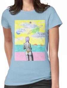 Beach alien bikini babe fantasy sea monster Womens Fitted T-Shirt