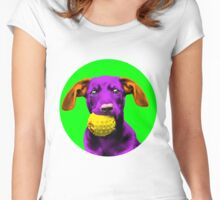 Green Bubble Sausage Dog Pop Art Women's Fitted Scoop T-Shirt
