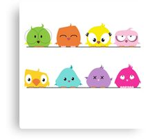 Cute funny cartoon birds Canvas Print
