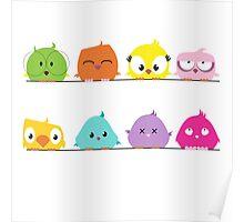 Cute funny cartoon birds Poster