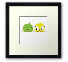 Two cute birds in love Framed Print