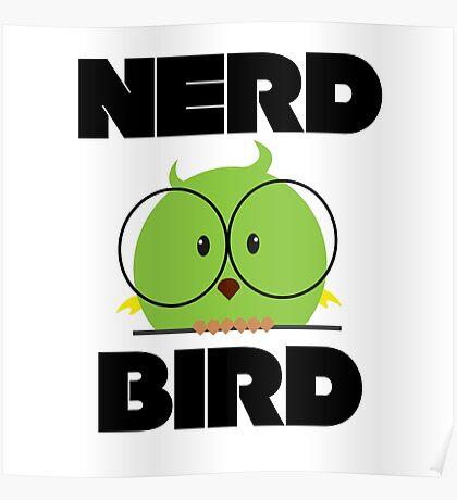 Nerd Bird with glasses Poster