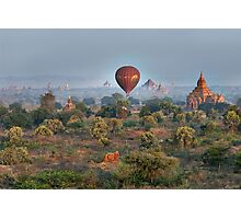 Ballons ride over temples of Bagan Photographic Print
