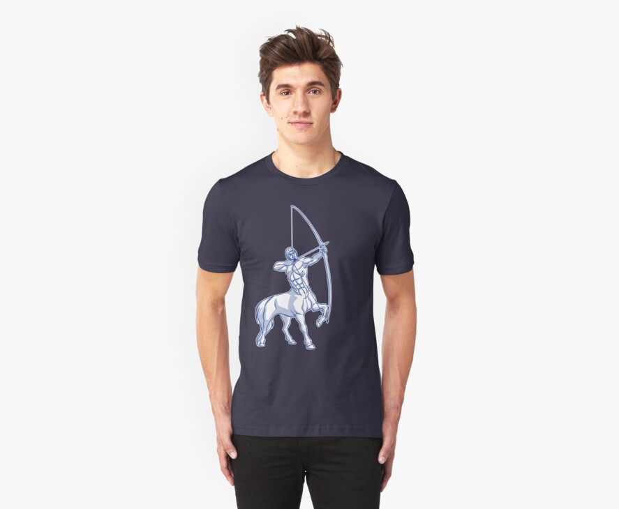 White and Blue Centaur Aiming High T-Shirt by Cheerful Madness!! by cheerfulmadness