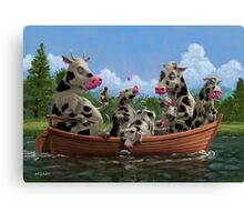 Cartoon Cow Family on Boating Holiday Canvas Print