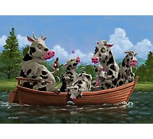 Cartoon Cow Family on Boating Holiday Photographic Print