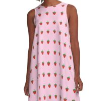Strawberry Patch : Fruit Berry Pink Pattern A-Line Dress