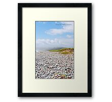 Fog Rolling In On Beach Filled With Pebbles Framed Print