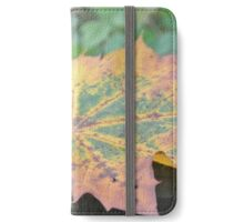 Colorful Maple Leaf on Wood iPhone Wallet/Case/Skin