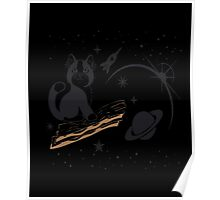 Cat in Space Riding Bacon T-Shirt Tee Shirt Kitty Kitteh Poster