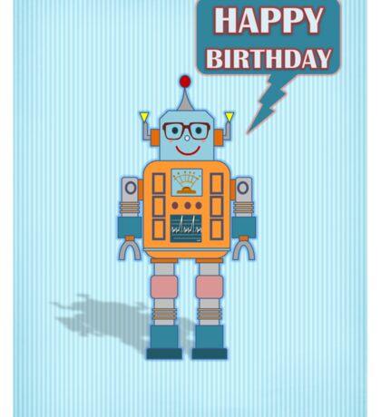 Robot Birthday Card  Sticker