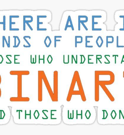 Funny Computer Nerd T-shirt, Binary Code Geek by Zany Brainy Sticker