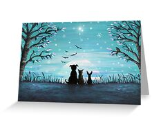 Winter Sunset Acrylic Painting Greeting Card