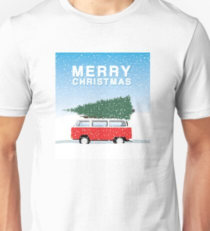 Bus and tree - Merry Christmas with snow Unisex T-Shirt