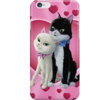 Romantic Cartoon cats on Valentine Heart  iPhone Case/Skin