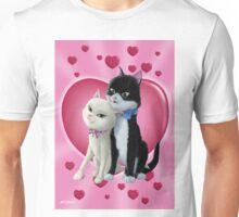 Romantic Cartoon cats on Valentine Heart  Unisex T-Shirt