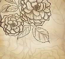 Sketch rose background by Marta Jonina
