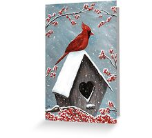 Northern Cardinal Bird Painting Greeting Card