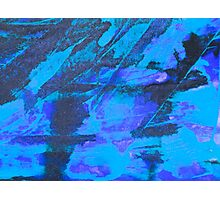 Blue grunge backgriond with black brush strokes Photographic Print