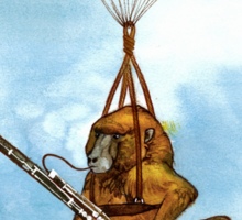 A Baboon Plays Bassoon From Balloons Sticker