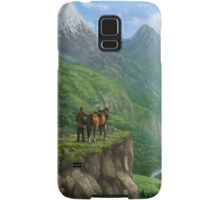 Traveller in landscape with distant Castle Samsung Galaxy Case/Skin