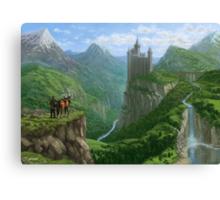 Traveller in landscape with distant Castle Canvas Print