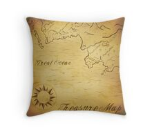 Old treasure map Throw Pillow