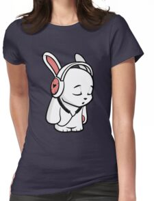 Love Music Cartoon Bunny Womens Fitted T-Shirt