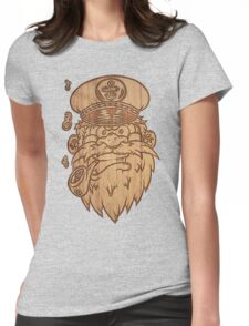 Captain Salty on Wood Womens Fitted T-Shirt