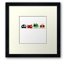 Four funny cute birds Framed Print