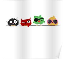 Four funny cute birds Poster