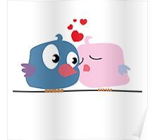 Two cartoon birds kissing Poster