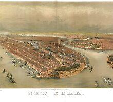 Vintage Pictorial Map of New York City (1874) by BravuraMedia