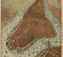 Vintage Pictorial Map of New York City (1879) 2 by BravuraMedia