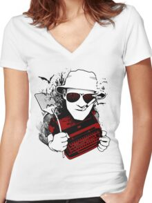 We Can't Stop Here - Homage to Hunter Thompson Women's Fitted V-Neck T-Shirt
