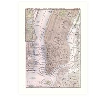 Vintage Map of New York City (1884) Art Print