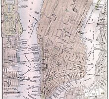 Vintage Map of New York City (1884) by BravuraMedia