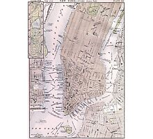 Vintage Map of New York City (1884) Photographic Print