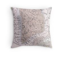 Vintage Map of New York City (1884) Throw Pillow