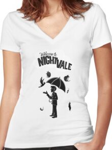 NIGHT VALE Women's Fitted V-Neck T-Shirt