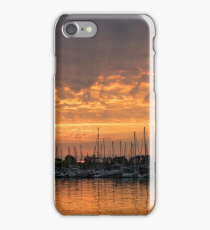 Just a Sliver of the Sun - Sunrise God Rays at the Marina iPhone Case/Skin