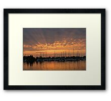 Just a Sliver of the Sun - Sunrise God Rays at the Marina Framed Print